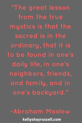 The great lesson from the true mystics is that the sacred is in the ordinary, that it is to be found in one's daily life, in one's neighbors, friends, and family, and in one's backyard.